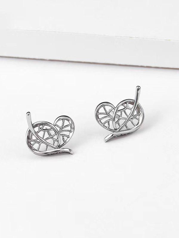 Shop Hollow Heart Leaf Shape Stud Earrings