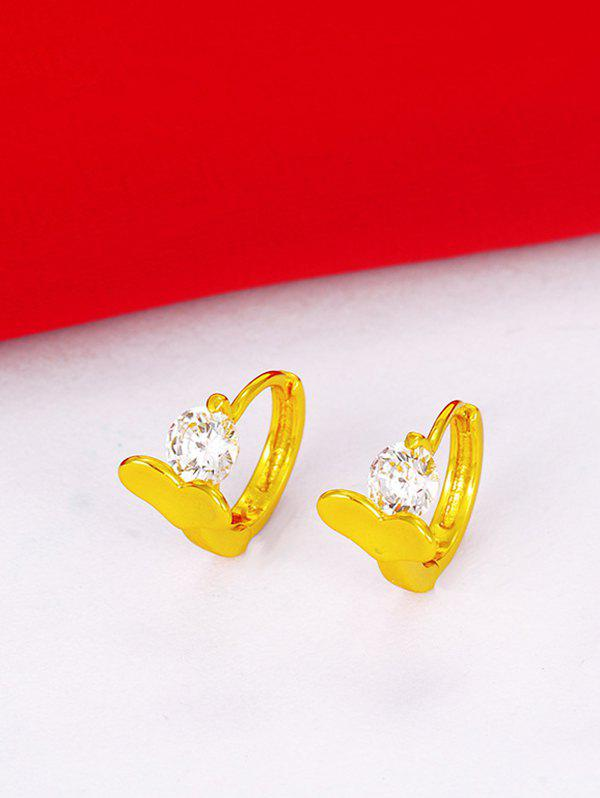 Shop Golden Heart Shape Zircon Embellished Pierced Earrings