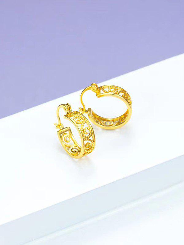 Discount Golden Retro Hollow Out Small Hoop Earrings