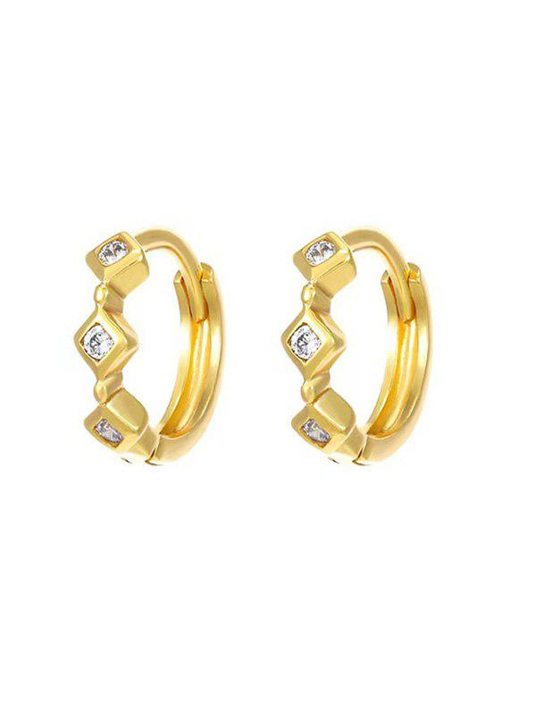 Sale Rhinestone Inlaid Triple Rhombus Hoop Earrings