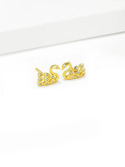 Trendy Rhinestone Swan Shape Stud Earrings