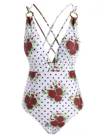 Flower Polka Dot Criss Cross O Ring Backless One-piece Swimsuit - DEEP RED - XL