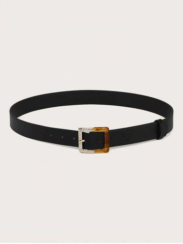 Rhinestone Square Pin Buckle Belt - BLACK