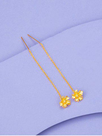 Carved Flower Pendant Threader Linear Drop Earrings