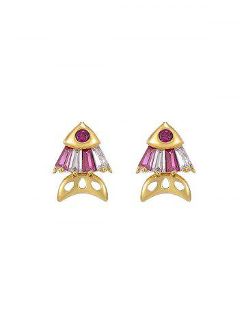 Fish Shape Rhinestone Stud Earrings - RUBY RED