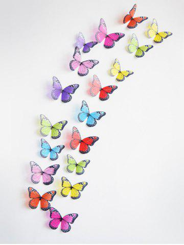 3D Colorful Butterfly Wall Decorative Stickers Set - MULTI - 18PCS