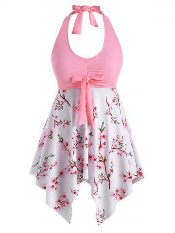 Plus Size Peach Blossom Handkerchief Knot Backless Tankini Swimwear - LIGHT PINK - 2X