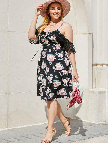 Plus Size Floral Print Cold Shoulder Lace Panel Dress