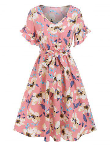 Flower Print V Neck Belted Dress