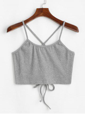 Ribbed Criss Cross Lace Up Plus Size Crop Top - LIGHT GRAY - 5XL