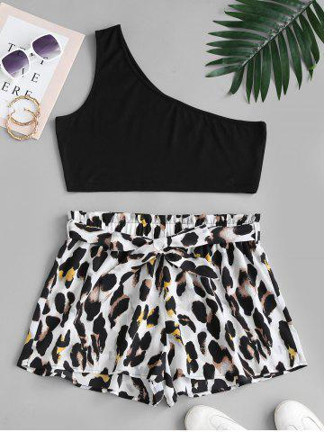 Plus Size Solid One Shoulder Top and Leopard Paperbag Shorts Set - MULTI - 5XL