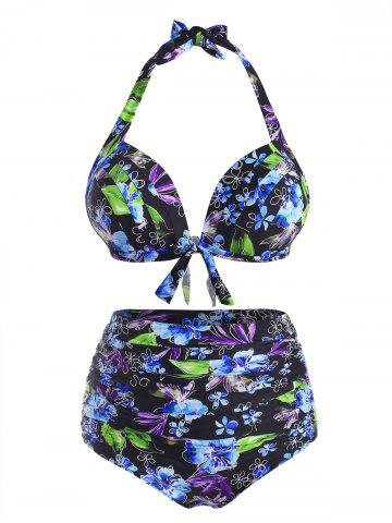 Plus Size Flower Print Halter Tied Tummy Control Bikini Swimwear - LIGHT BLUE - 3XL