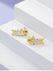 Fish Bone Shape Zircon Inlaid Stud Earrings -