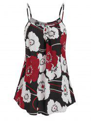 Flower Printed Pleated Cami Tank Top -