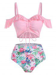 Flamingo Leaf Print Ruffle Cinched Tummy Control Two Piece Swimwear -