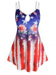 Plus Size Flower American Flag Keyhole Backless Cami Top -