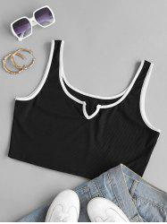 V-notched Ribbed Contrast Piping Plus Size Crop Top -