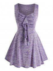Plus Size Ruffle Space Dye Ruched Tank Top -
