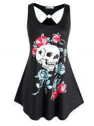 Plus Size O Ring Skull Floral Print Tank Top -
