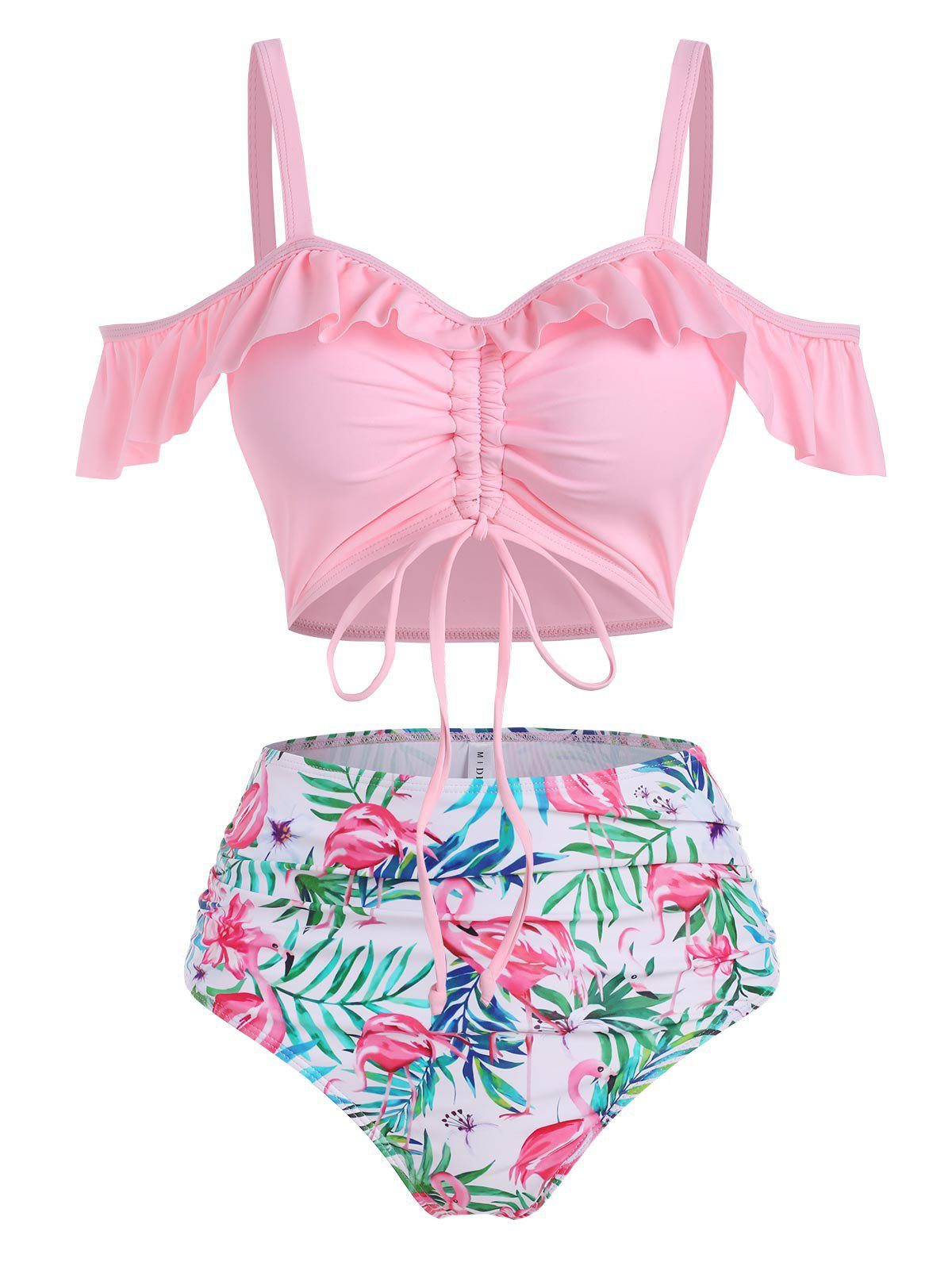 Trendy Flamingo Leaf Print Ruffle Cinched Tummy Control Two Piece Swimwear