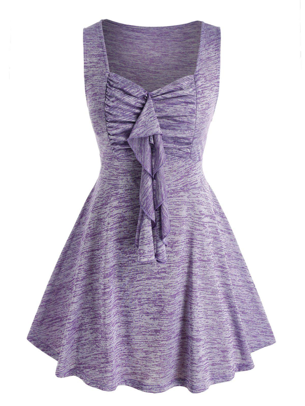Best Plus Size Ruffle Space Dye Ruched Tank Top