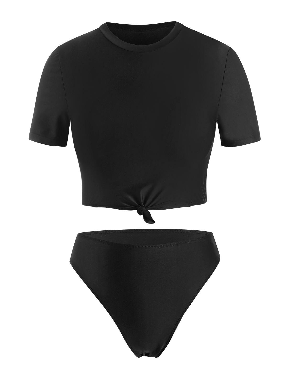 Best Plus Size Knotted High Leg Two Piece Swimwear