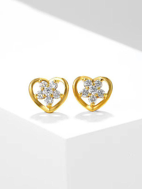 Store Heart-Shaped Hollow Out Zircon Flower Stud Earrings