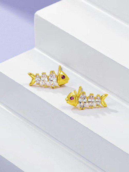 Shop Fish Bone Shape Zircon Inlaid Stud Earrings