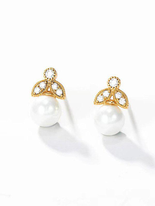Outfits Faux Pearl Zircon Inlaid Stud Earrings