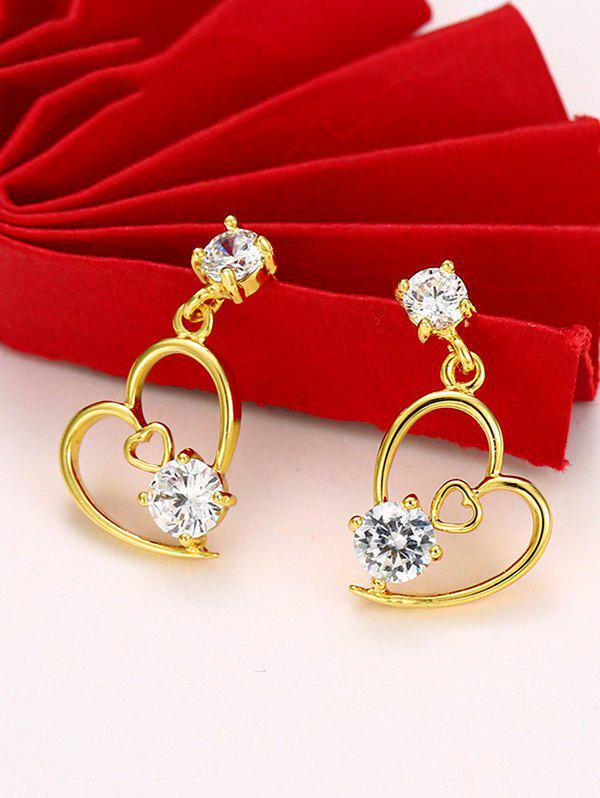 Latest Hollow Out Double Heart Stud Earrings
