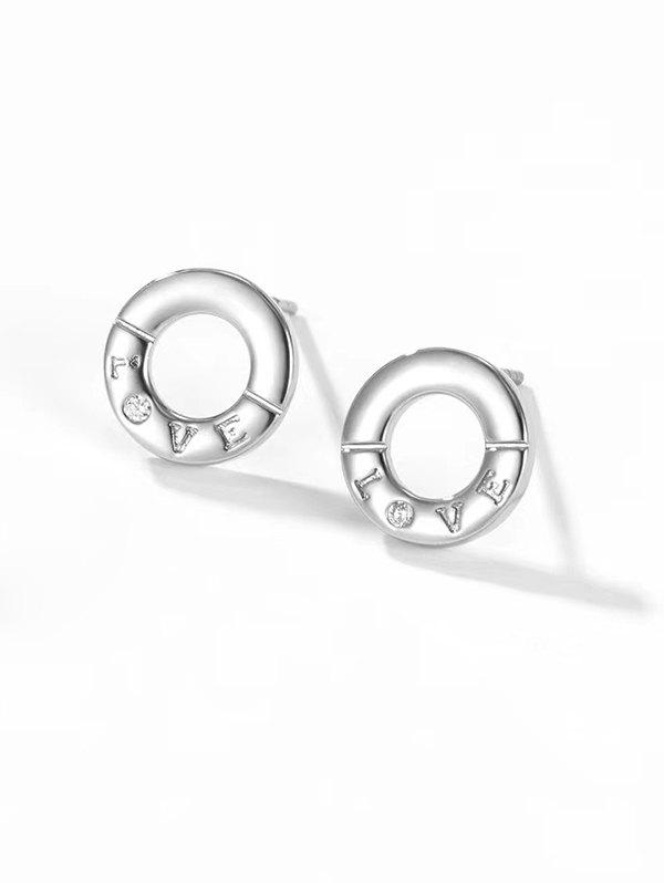 Chic Letter Carved Round Stud Earrings