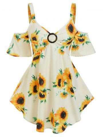 Floral Print O Ring Cold Shoulder Blouse - YELLOW - XL