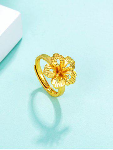 Gold Plated Hollow Floral Adjustable Ring