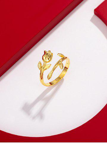 Flower Shape Gold Plated Open Ring