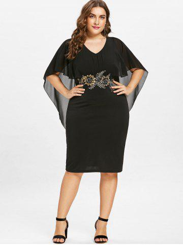 Plus Size Embroidery Knee Lengt Capelet Dress