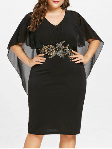 Plus Size Embroidery Knee Lengt Capelet Dress - BLACK - 4X