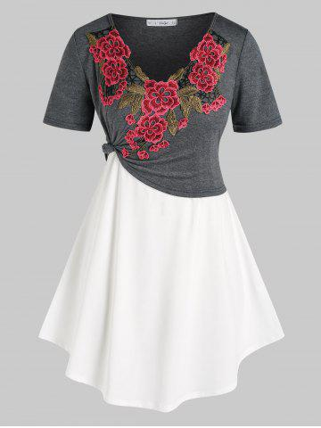 Plus Size Flower Applique Cropped Tee and Trapeze Camisole Set - MULTI - 1X
