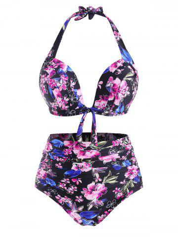 Plus Size Flower Print Halter Tied Tummy Control Bikini Swimwear - LIGHT PINK - 5XL