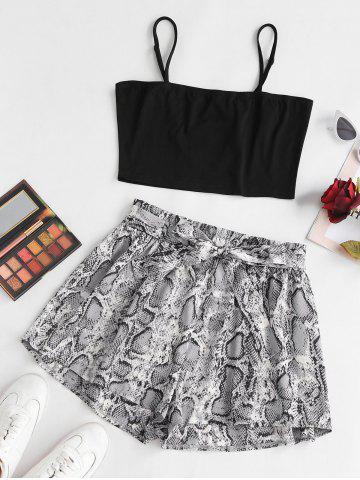 Plus Size Solid Cropped Top and Snake Print Paperbag Shorts Set