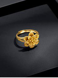 Gold Plated Layers Flower Open Ring -