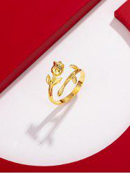 Flower Shape Gold Plated Open Ring -