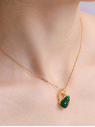 Gourd Pendant Hollow Gold Plated Necklace -