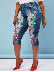 Plus Size High Rise Floral Print Cropped Jeggings -