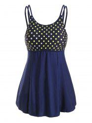 Plus Size Polka Dot Dual Strap Skirted Tankini Swimwear -
