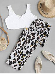 Plus Size V-notched Cropped Top and Leopard Pants Set -
