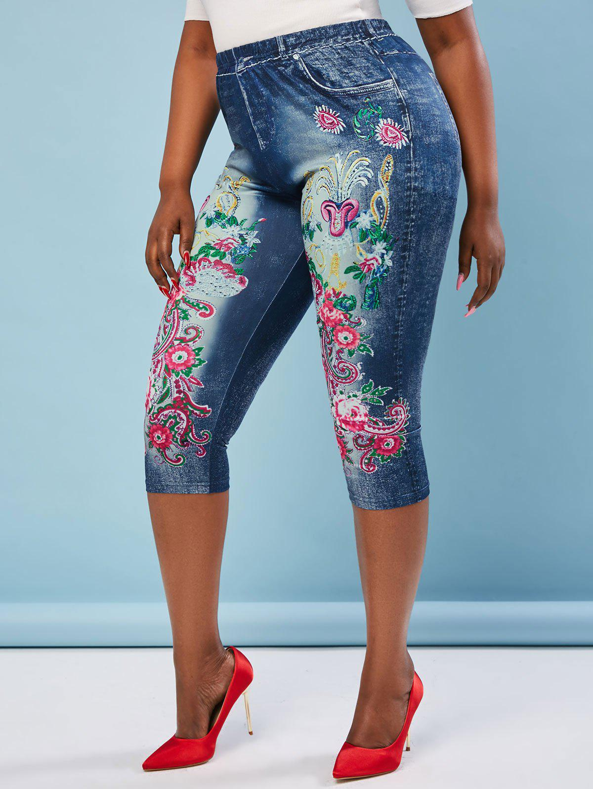 Buy Plus Size High Rise Floral Print Cropped Jeggings