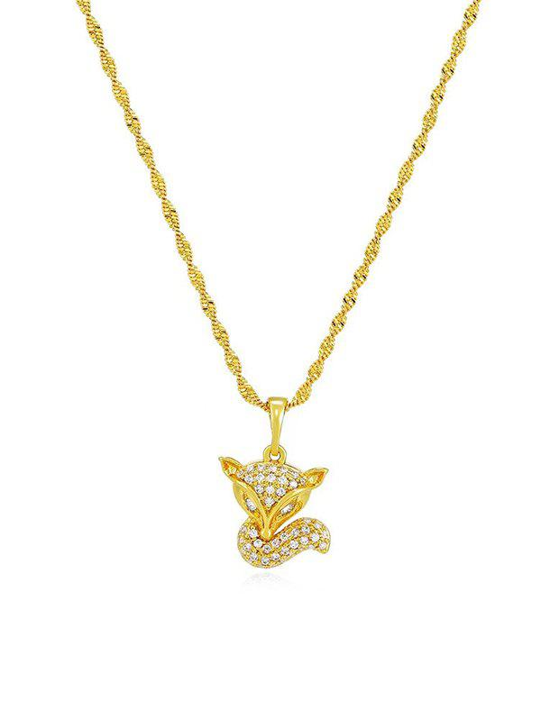 Outfits Zircon Inlaid Fox Pendant Necklace