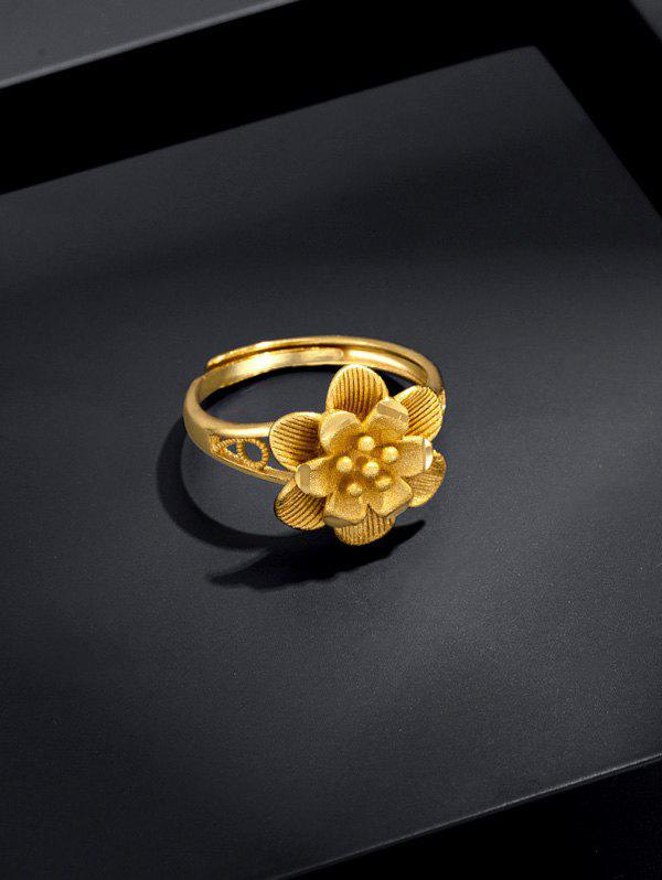Hot Gold Plated Layers Flower Open Ring
