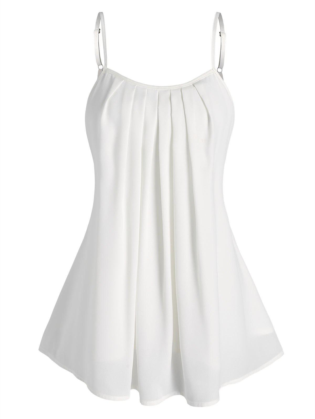 Fancy Curved Hem Pleated Cami Top