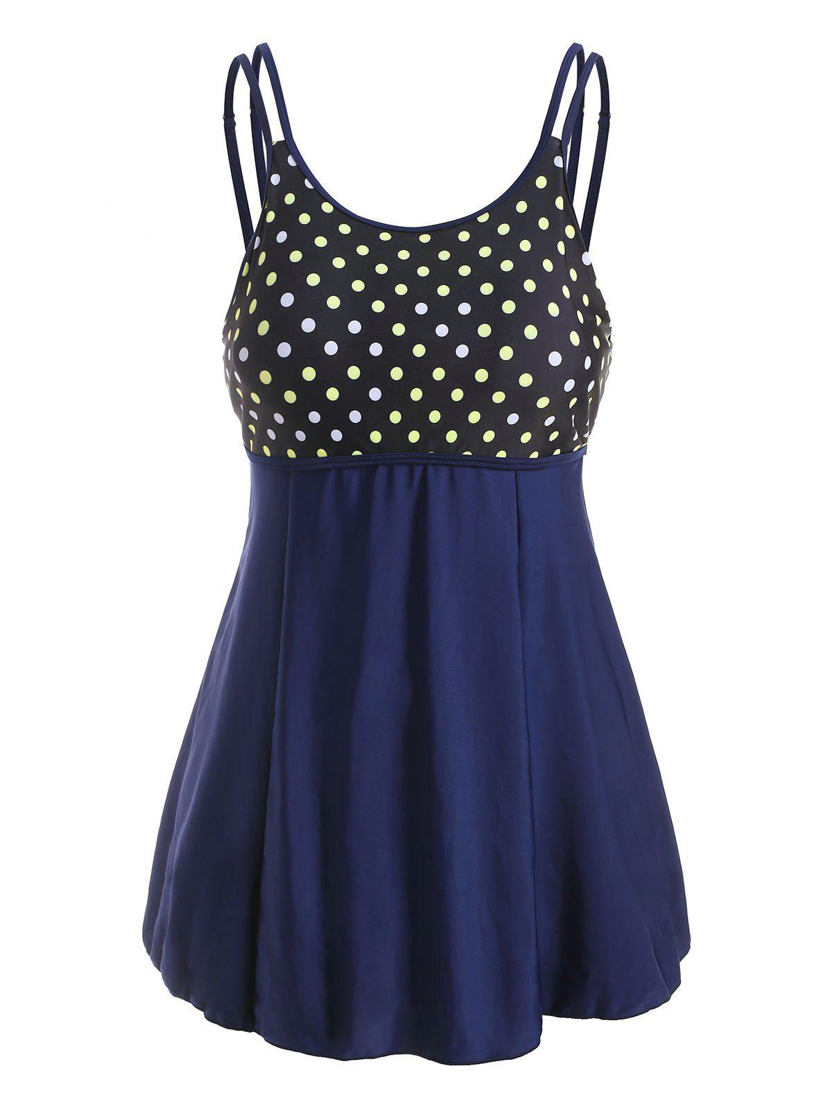 Discount Plus Size Polka Dot Dual Strap Skirted Tankini Swimwear